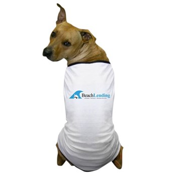 dog wearing t-shirt with classic beach lending logo